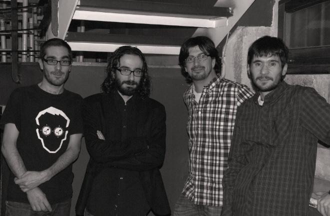 membres fundadors d'Edicions del Buc (d'esquerra a dreta: Josep Martínez, Rubén Luzón, Pau Sanchis, Francesc Bononad)