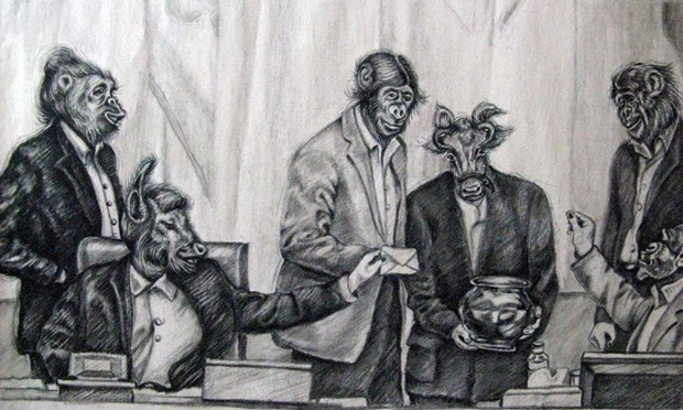 Caricatura dels polítics iranians per Atena Farghadani