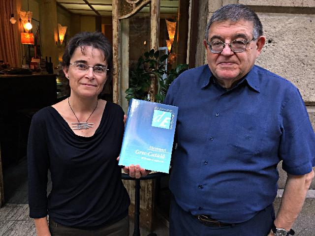 Joan Alberich, professor de grec, i Núria Bort, editora d'EC   Foto: Griselda Oliver