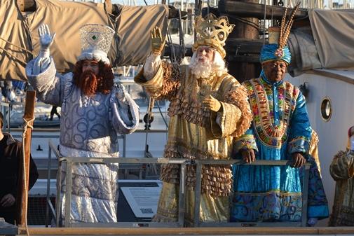 Melcior, Gaspar i Baltasar arribant a Barcelona el 2015 | Font: ICUB