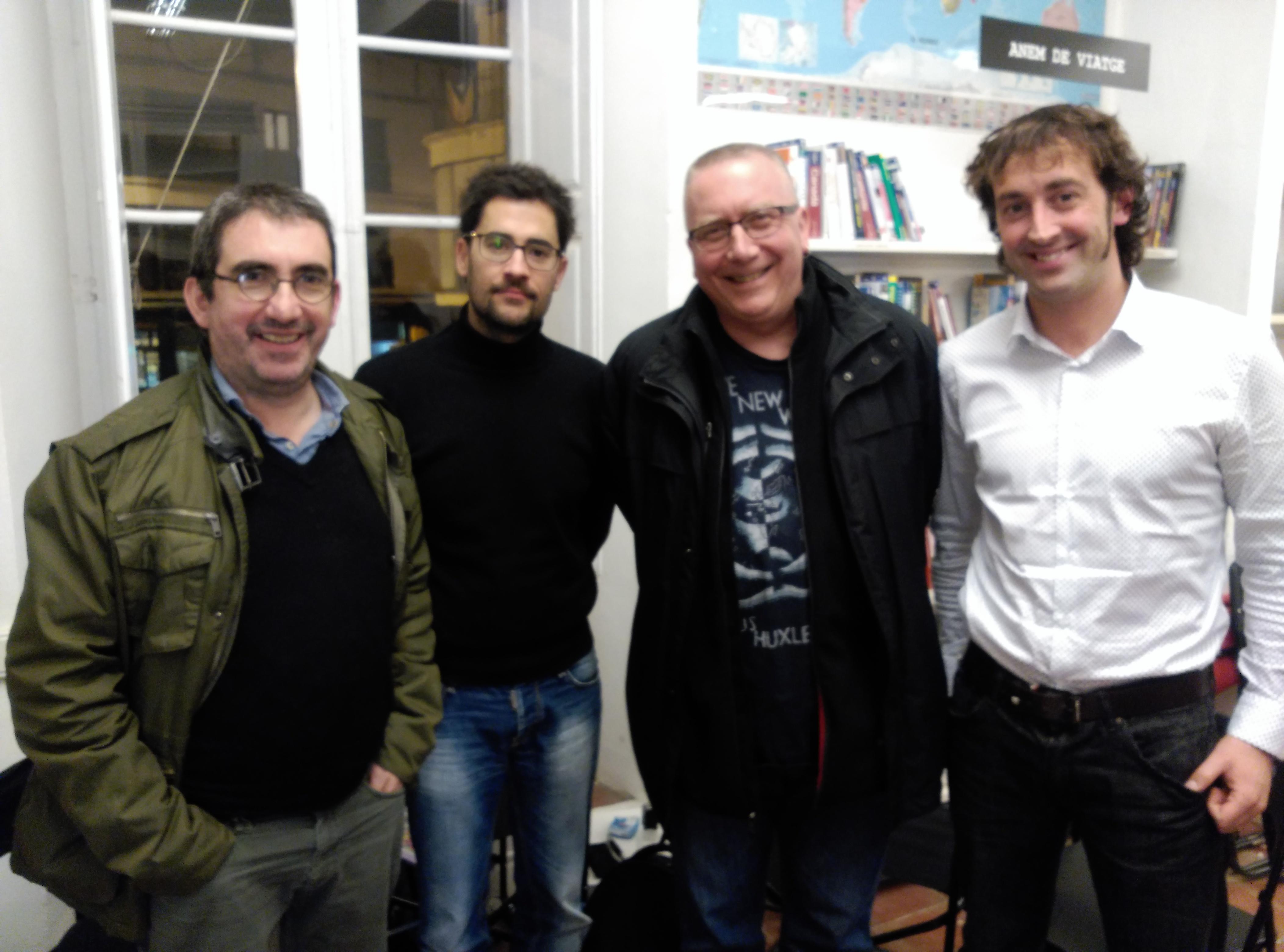 Miquel Aguirre, Damià Bardera, Matthew Tree i Jordi Dausà a la llibreria L'Altell.