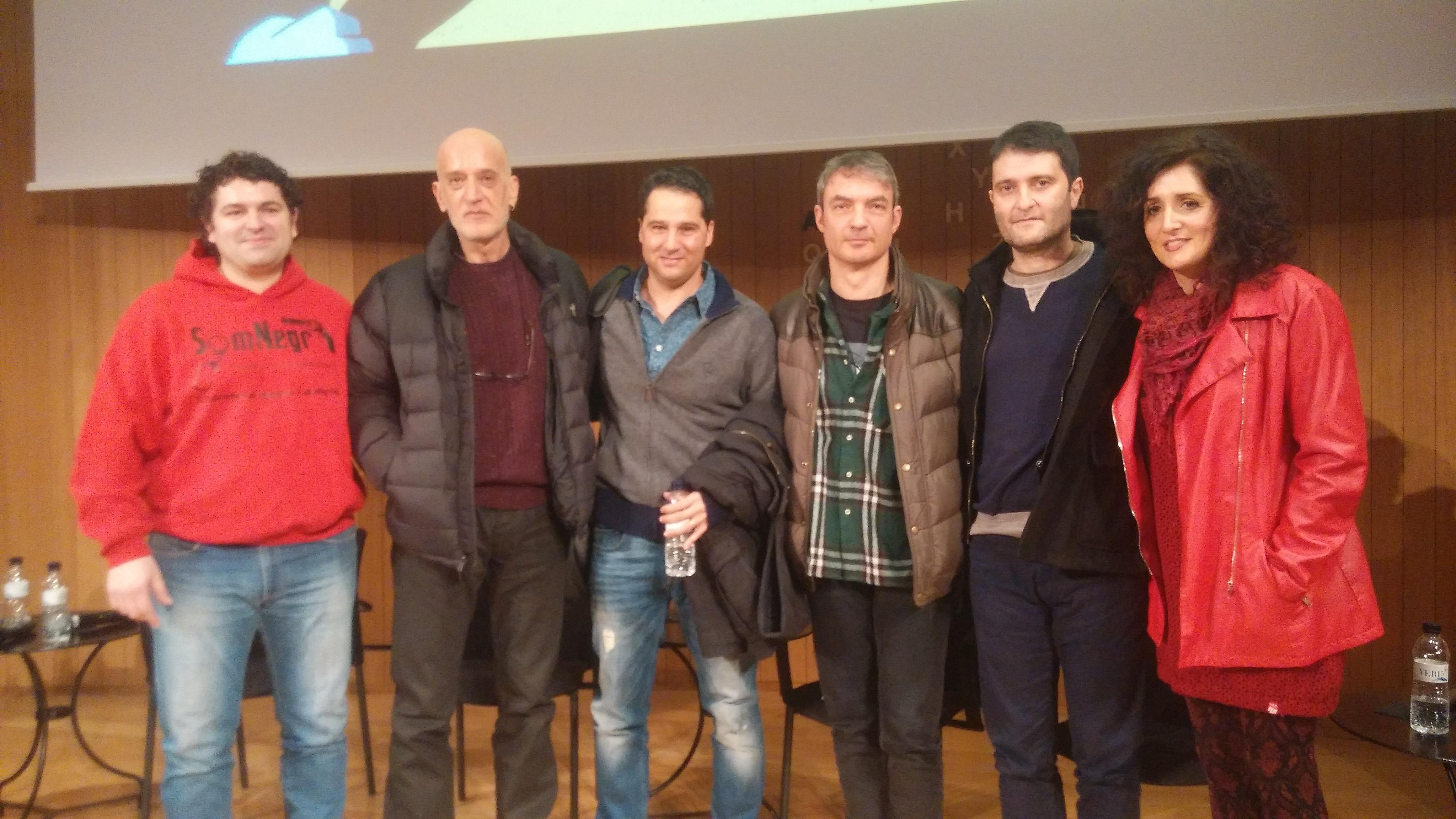 El moderador Miguel Àngel Díaz junt a Aro Sainz, Rafa Melero, Lluís Llort, Marc Moreno i Graziella Moreno durant el BCNegra | Foto: Clàudia Rius