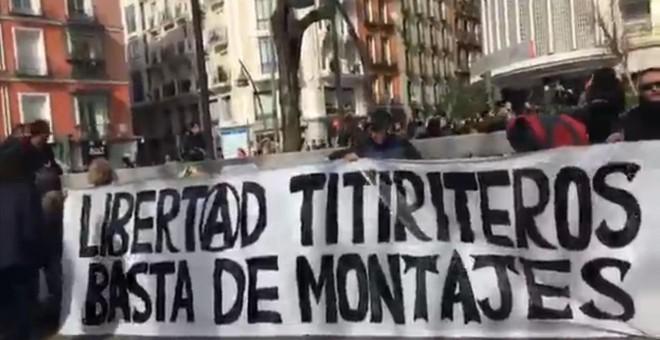 Imatge de la protesta d'aquest diumenge a la plaça Tirso de Molina (Madrid)