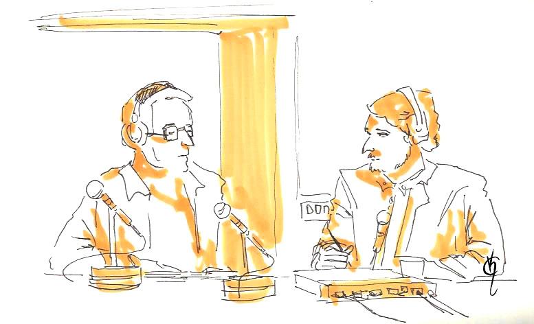 Katerin Carballares il·lustra Juan Insua conversant amb Bruno Sokolowicz a Kosmopolis