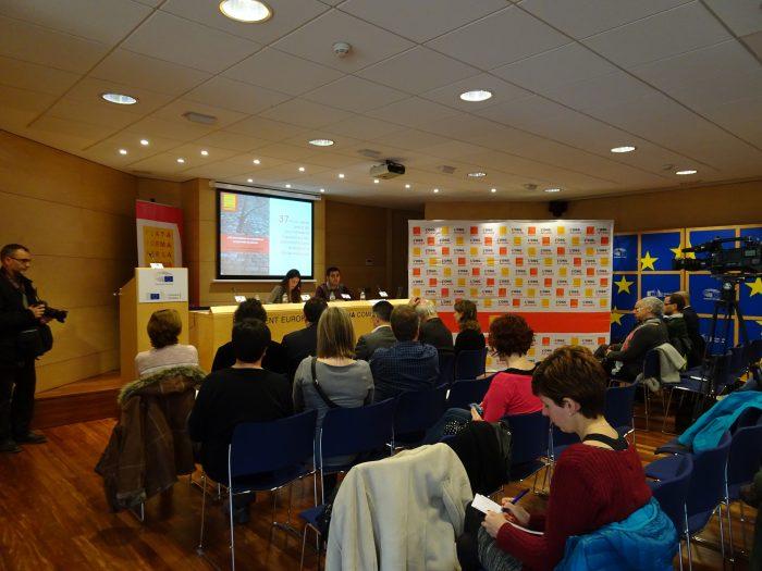 Imatge de la roda de premsa de presentació de l'informe | Plataforma per la Llengua