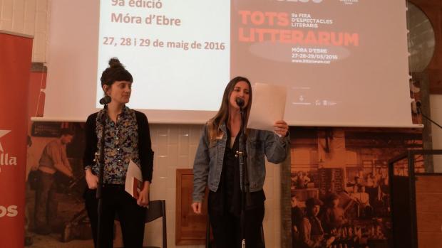 Maria Cabrera & Bikimel a l'Antiga Fàbrica Damm, durant la presentació de Litterarum