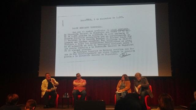 Ramon Muntaner, Joaquim Vilarnau, Maria Salcrú-Maltas i Lluís Gendrau a la Setmana de la Cultura Prohibida | Foto: Clàudia Rius