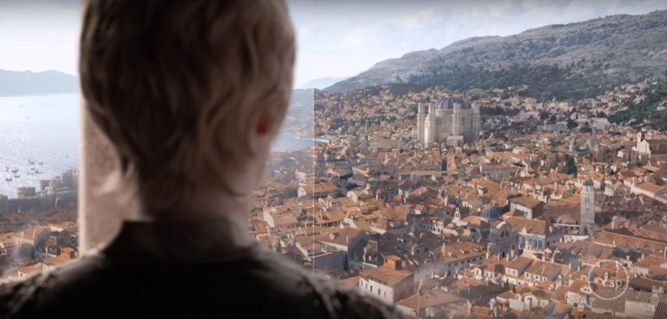Cersei Lannister davant de la Girona de Joc de Trons | Foto: Rising Sun Pictures