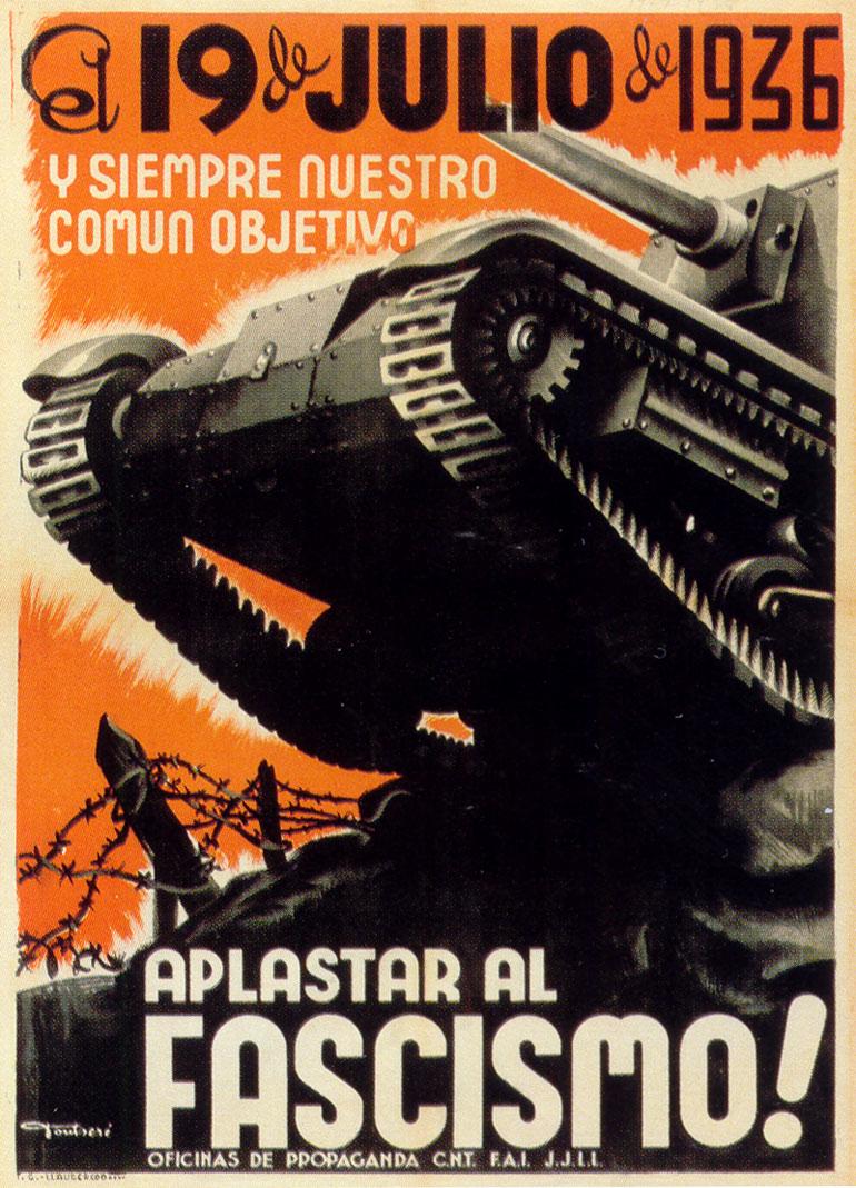 Un dels cartells més famosos de Fontserè, amb el lema APLASTAR AL FASCISMO! (1937)