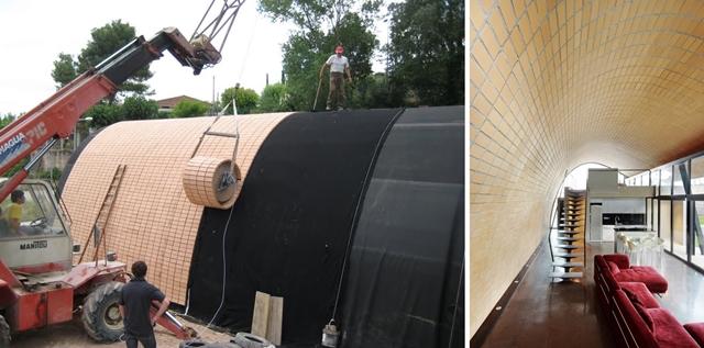 La Casa Mingo durant la seva construcció (on es pot veure la facilitat de distribució i ús del teixit ceràmic), i l'interior un cop finalitzades les obres | Foto: Metalocus
