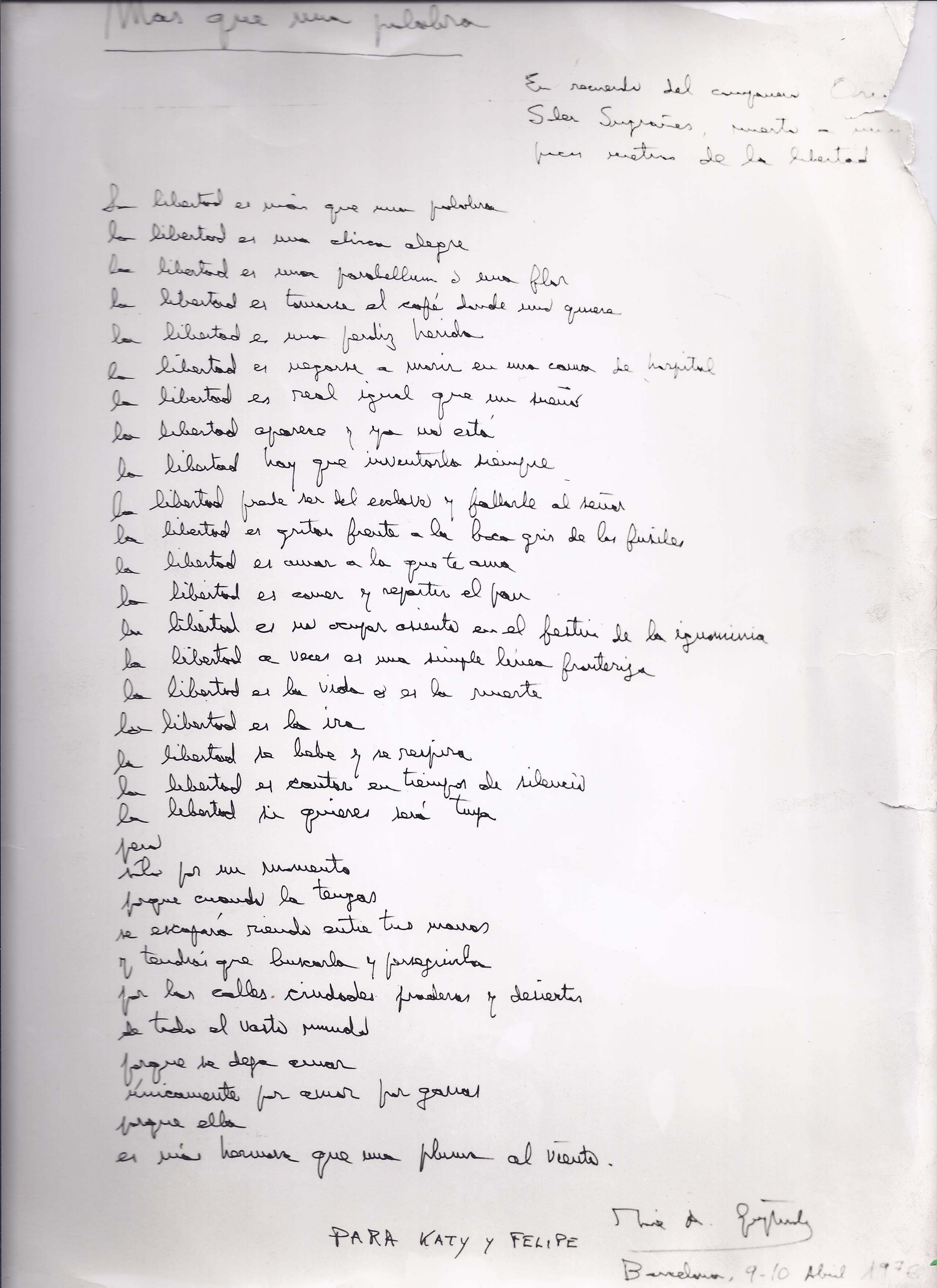 L'original del poema de José Agustín Goytisolo, pel qual va rebre una multa de 80.000 pessetes de l'època.