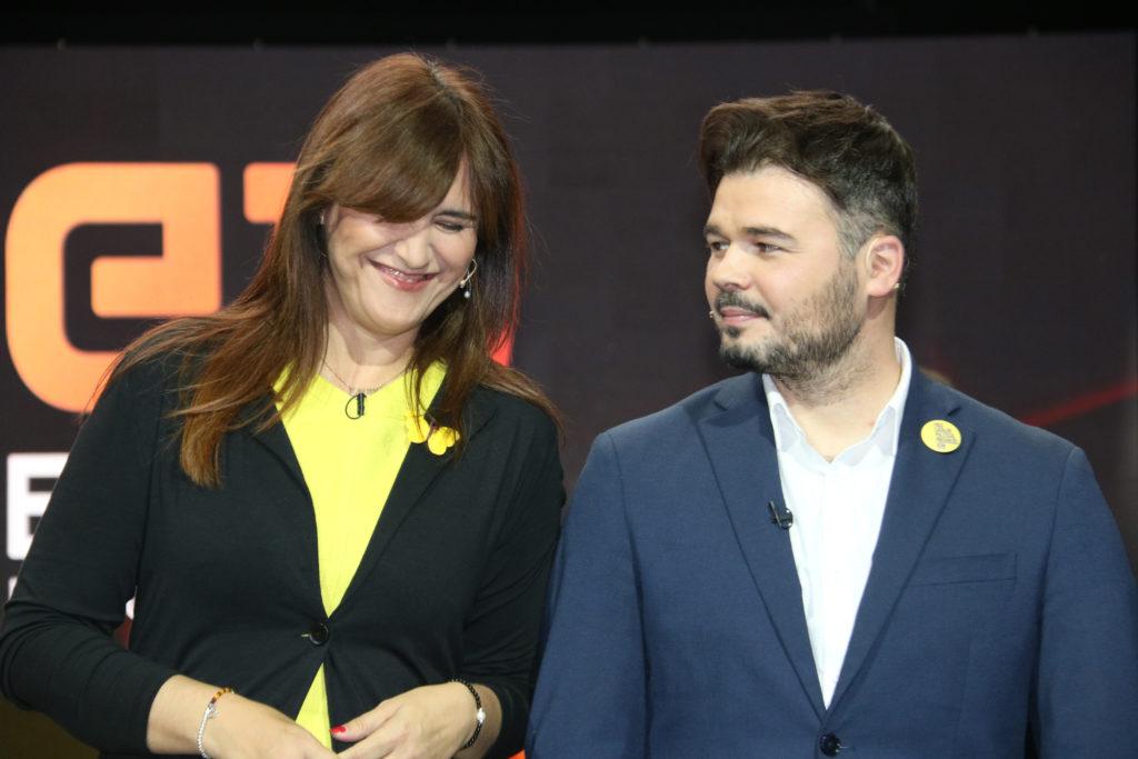 Laura Borràs, amb el cap de llista d'ERC, Gabriel Rufián, abans del debat a TV3 del 24 d'abril de 2019.