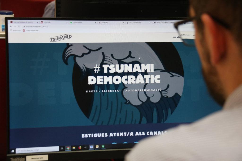 Imatge del web de Tsunami Democràtic.