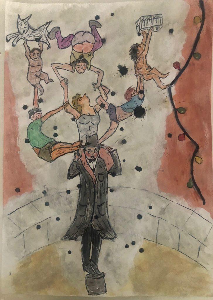 Dibuix a aquarel·la sobre l'espectacle de Pep Tosar 'El fingidor'.